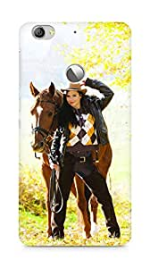 Amez designer printed 3d premium high quality back case cover for LeEco Letv Le 1S (Equestrian with her horse in autumnal nature)
