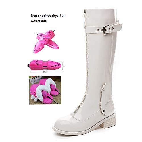 BWCX Damen Stiefel mit grober Ferse, echtes Leder, inkl. einklappbarem Schuhtrockner, Whitevelvet, 33
