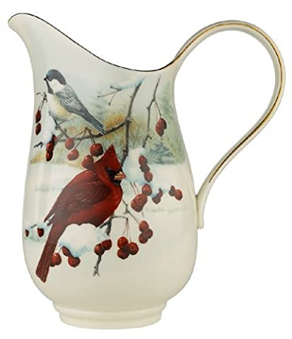 Lenox Winter Greetings Scenic Gold-Banded Fine China Pitcher by Lenox