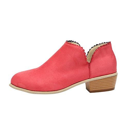 MOIKA Chelsea Boots Damen Stiefeletten Kurzschaft Blockabsatz Leder Wildleder mit Absatz Kurze 3cm Stiefel Suede Winter Schuhe