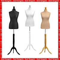 Student Dressmaker |Female Tailors Dummy | Display Bust | Mannequin | Size 6-8 (Cream Colour + Wood Finish Stand)