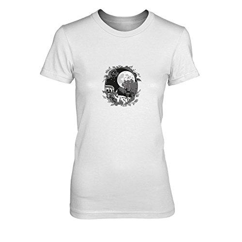 Cosplay Ghibli Kostüm Studio - Nachbar Ornament - Damen T-Shirt, Größe: XL, Farbe: weiß