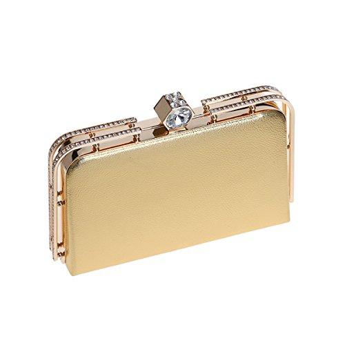 743c350efb00d ... Flada Abend Kupplungen für Frauen PU Leder Handtaschen Strass  Metallrahmen Schultertaschen Gold Gold ...