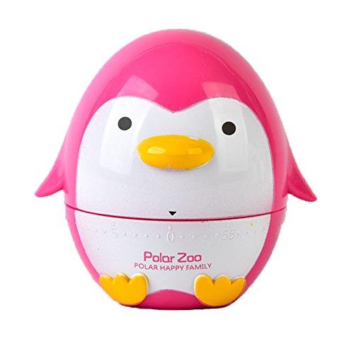 Pingüino en 60minutos mecánica cocina cocina temporizador alarma, utensilio de cocina herramientas de cocina huevo temporizador rosa (b)