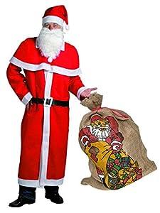 Idena 31337 Set de disfraz de Papá Noel con saco de yute, 6 piezas, gorro, barba, abrigo, cinturón, capa, saco de regalo de yute, Unisex - adultos, rojo, blanco, negro, natural