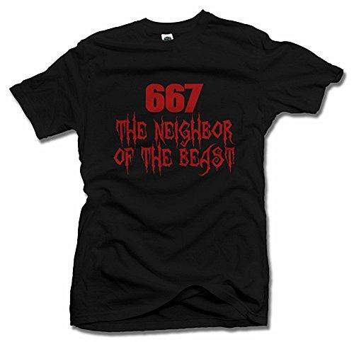 667 THE NEIGHBOR OF THE BEAST HALLOWEEN T-SHIRT Black Men's Tee (6.1oz) (Black Beast Shirt)
