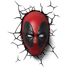 máscara de la lámpara LED Deadpool 3D con pegatinas de pared 25x16x9cm Marvel roja