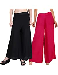 Mango People Products Indian Ethnic Rayon Designer Plain Casual Wear Palazzo Pant For Women's ( Black And Pink...