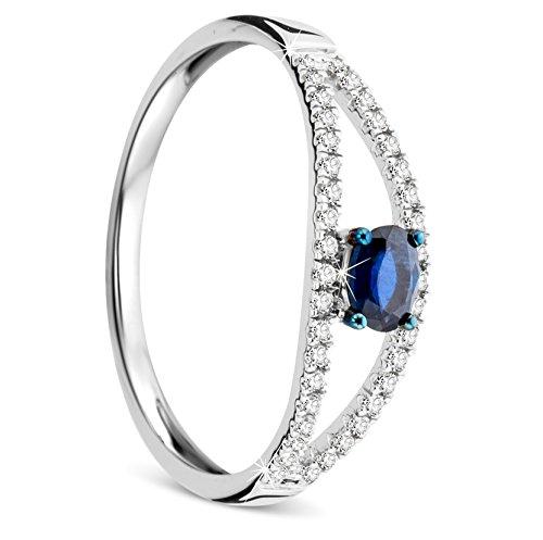 orovi Donna Oro bianco anello di fidanzamento anello di diamanti e Sapphire diamante 9carati (375) brillianten 0.12Carat 38diamanti, Oro bianco, 56 (17.8), colore: gold, cod. OR7743R56