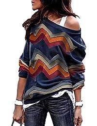 7ce941cdb7de LAIKETE Sweatshirt Col Bateau Femme Boheme Hippie Pullover Geometrique Haut  a la Mode Ado Fille Tunique