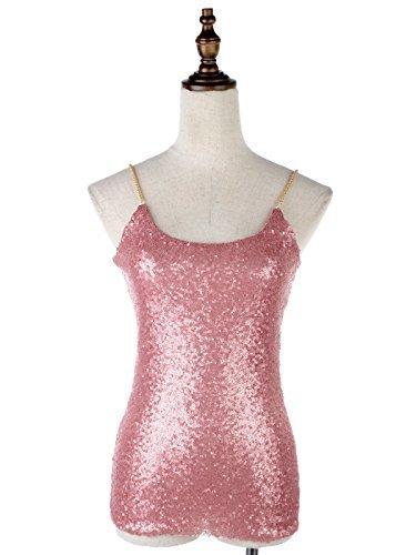 Anna-Kaci Frauen Sparkle Shine Glitzer Mini Pailletten Metallic Effekt Kette Ärmellos Boot Ausschnitt Trägertop Tank Top Pink