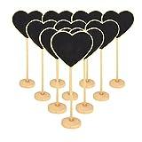 Bcony Cuore in legno Mini lavagna Lavagnette messaggi Wordpad per numero tavolo per feste e matrimoni segnaposto/impostazione decorazione natalizia, set da 9
