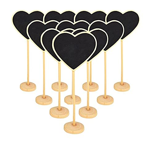 Bcony Portable Heart Blackboard Chalkboard Wooden Message Board Holder with