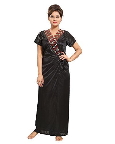 Tucute-Womens-Satin-Nightwear-Set-of-6-Pcs-Nighty-Wrap-Gown-Top-Pyjama-Bra-Thong-Black-DNo1185