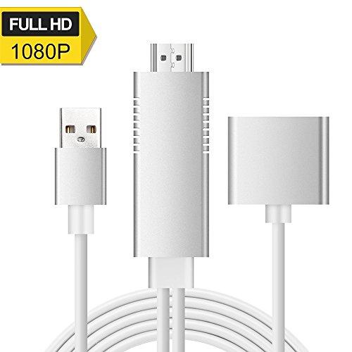 Lightning zu HDMI Kabel, 3-in-1 Lightning/Micro USB/Typ-C zu HDMI Adapter 1080P Digital AV Adapter HDTV Kabel Unterstützung iOS 8.0 und Android 5.0 und höher Smartphones auf HDTV/Beamer