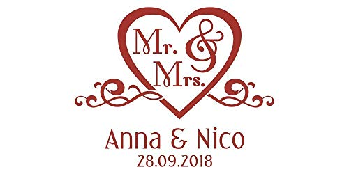 Autoaufkleber Hochzeit - Herz mit Mr. & Mrs.