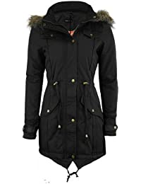 THE ORANGE TAGS NEW WOMENS OVERSIZED HOOD LADIES PARKA JACKET MILITARY COAT Black 24