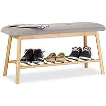 94401929d4280 Relaxdays Banc à chaussures en bambou 4 paires étagère chaussures assise 2  personnes