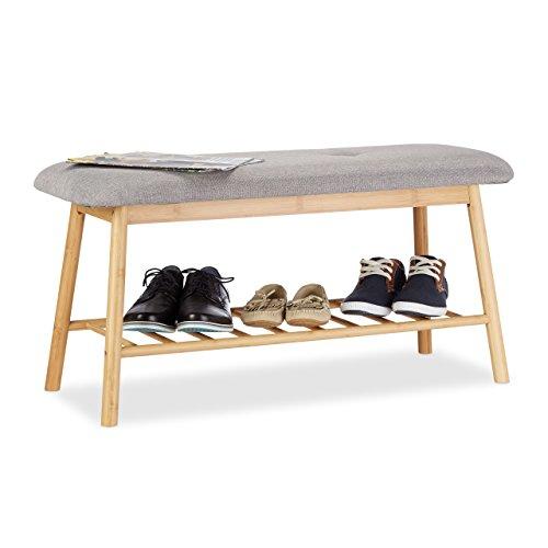 Relaxdays 10022340 scarpiera panca in bambù, 2 posti, imbottita, con ripiano per 4 paia di scarpe, comoda, marrone-grigio