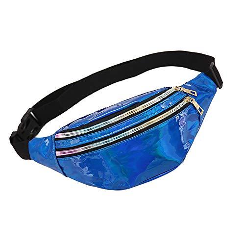 WD&CD Glitzer Bauchtasche Gürteltasche Damen Herren Blau, Sport hüfttasche wasserdicht 3 Fächer mit Reißverschluss Verstellbarer Gurt kompatibel für Einkaufen, Laufen, Reisen, Party