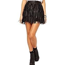Falda De Flecos De PU Cuero De Mujer Estrecho Atractiva Lapiz Faldas De Tubo Negro M