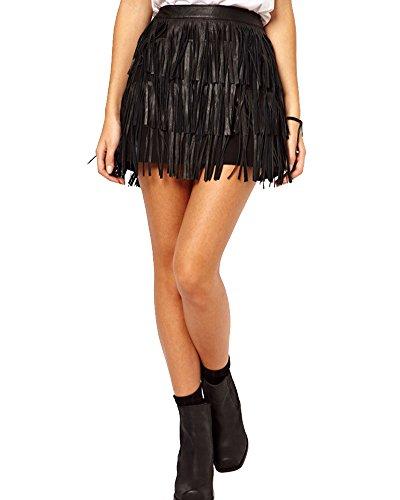 Donne Minigonna Gonna Frangiata In Ecopelle Elastico Collant Wrap Dress