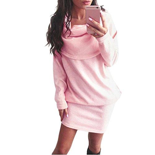 Damen Sweater Xinan Frauen Herbst Langarm Bodycon Revers Pullover kleid (L, Rosa) (Haar-womens T-shirt Rosa)