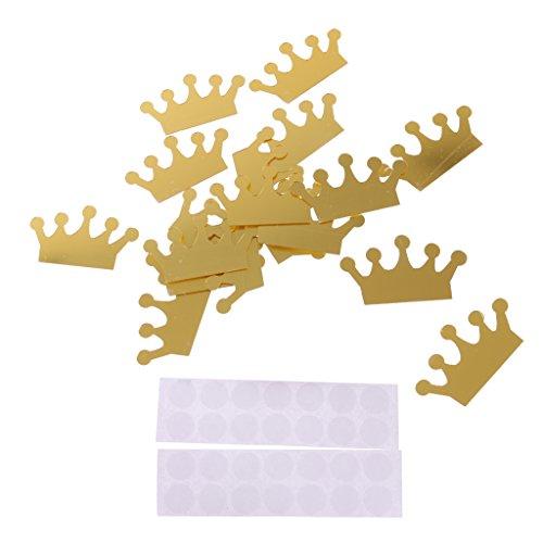 MagiDeal Adesivi Vinile Da Parete Corona Principessa Regina Carina Decorazioni Ornamento Fai Da Te Sticker Murali Camera Da Letto Soggiorno10 Pezzi - Oro