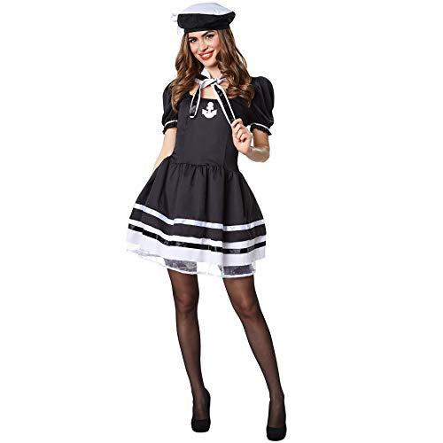 dressforfun 900505 Costume per Donna Navy Lady Avvitato, Stile Marinaro in Bianco e Nero (XXL| Nr. 302446)