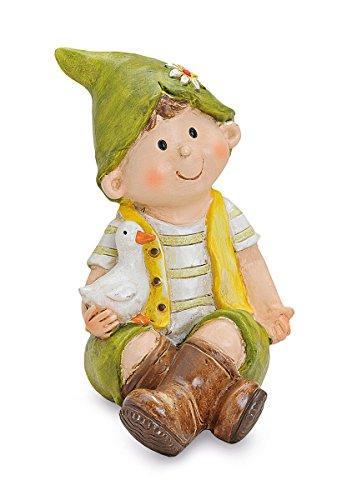 Figura decorativa RAGAZZO seduto con cappello a punta e oca in braccio 75d3d5df8157