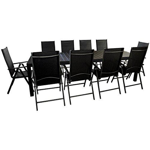 11tlg. Gartengarnitur - Gartentisch ausziehbar 205/275x100cm, Polywood Tischplatte + 10x Hochlehner, 2x2 Textilenbespannung, 7-fach verstellbar - schwarz / Sitzgruppe Gartenmöbel Terrassenmöbel Sitzgarnitur