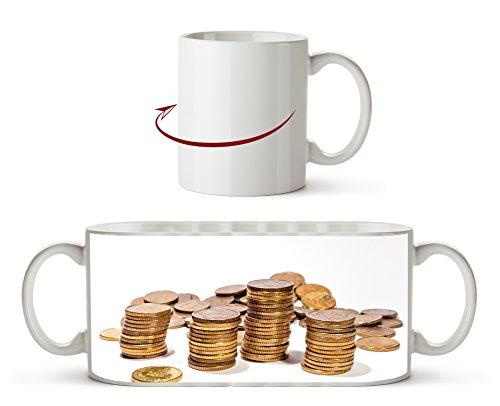 Stapel Münzgeld als Motivetasse 300ml, aus Keramik weiß, wunderbar als Geschenkidee oder ihre neue Lieblingstasse. (Dollar Radiergummi)