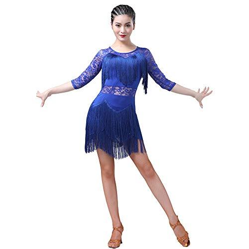 Einfache Salsa Kostüm - WEISY Sexy Spitze Quasten Latin Dance Kleid für Frauen Salsa Cha Cha Tango Ballroom Dancewear Kostüm