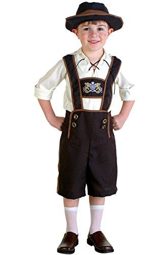 Oktoberfest Kostüm Trachtenhemd+ Hut + Lederhose Kniebundhose mit Träger für Kinder XL (Hut Träger)