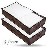 Bruce. ® 2 x Premium Unterbettkommoden   100 x 50 x 18 cm   Atmungsaktive und Mottenfreie Lagerung   Platzsparende Unterbett Aufbewahrungstasche für Bettdecken, Bettwäsche und Kissen   1 Jahr Garantie