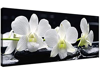 Large Black and White Canvas Prints of Orchid Flowers - Floral Wall Art - 1051 - Wallfillers® produced by Wallfillers - quick delivery from UK.