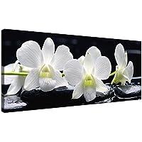 Lienzo grande, impresiones de arte para pared, diseño de flores de orquídeas, color blanco y negro -1051- Wallfillers