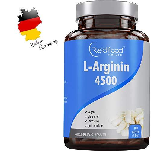 REDFOOD® L- Arginin 4500 hochdosiert XXL Dose mit 400 Kapseln Made in Germany Hochdosiert ohne Zusatzstoffe