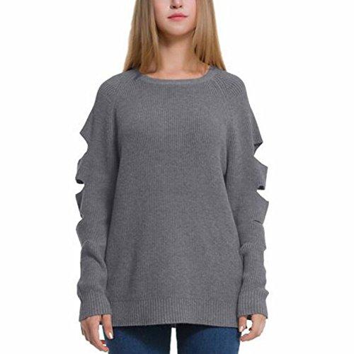 Newbestyle Femme Tricot Chandails Trou Déchiré Manches Longues Sweatshirt Knitwear Col Rond Pull Gris
