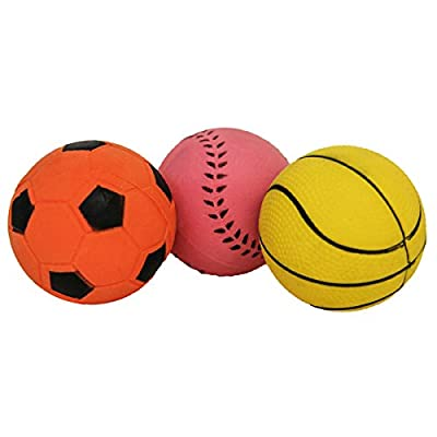 ROSEWOOD Jolly Doggy Rubber Sports Balls Dog Toys, Pack of 3