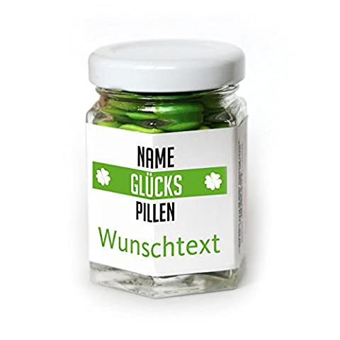 Lustige Apotheke Glücks-Pillen 40g Traubenzuckerlinsen mit Namen und Wunschtext als Scherzgeschenk (Schokolade Mit Namen)