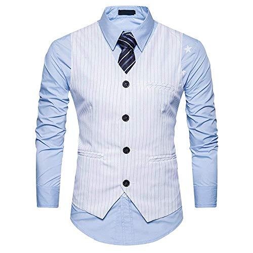 Saoye Fashion Herren V Ausschnitt Anzugweste Mit Streifen Einreiher 4 Elegant Smoking Kleidung Weste Business Party Hochzeit (Color : Weiß, Size : L)