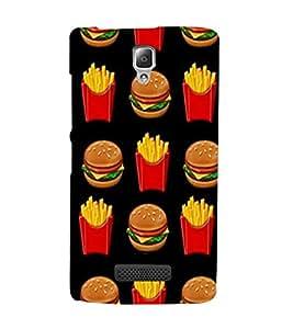 Burger and Fries 3D Hard Polycarbonate Designer Back Case Cover for Lenovo A2010