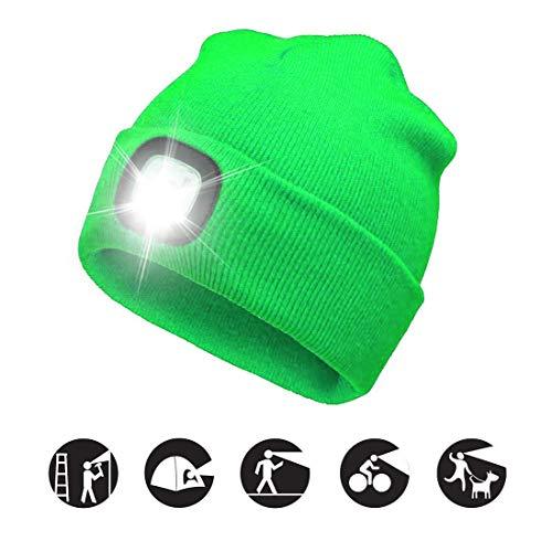 ATNKE LED beleuchtete Mütze, wiederaufladbare USB-Laufmütze mit extrem Heller 4-LED-Lampe und Blinkender Alarmscheinwerfer/Leuchtendes Grün (Lampe Grüne Leuchtend)