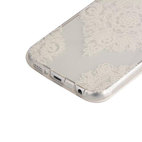 Feeltech Coque Apple iPhone 6/6S 4.7 Pouce en Silicone, Etui de Protection Flexible Anti-choc Résistant aux Rayures [Gratuit Noir 2 en 1 Stylet] Ultra Mince Souple TPU Pare-choc Transparent Protecteur Mandala