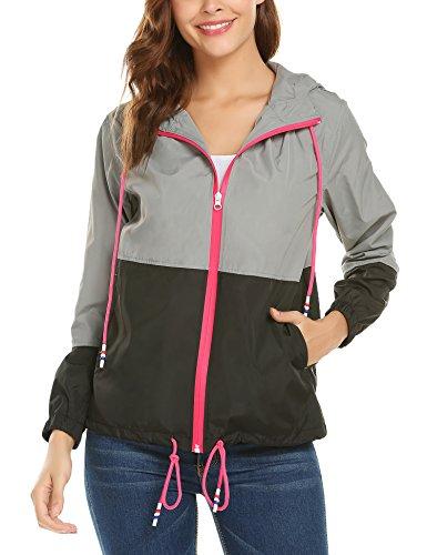 Damen Regenjacke Wasserfest mit Kapuze Leichter Damen Jacke Wasserdicht Winddicht