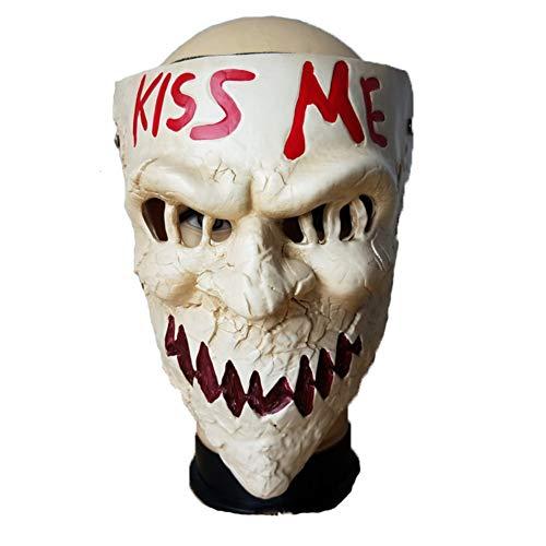 LJSHU Halloween Maske Kuss Mich Brief Horror Dämon Helm Neuheit Party Kostüm Dekoration Requisiten