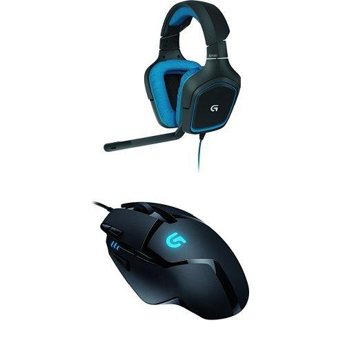 Logitech G430 + G402   Auriculares Gaming de diadema cerrados USB +  Ratón Gaming (botones programables, ), color negro