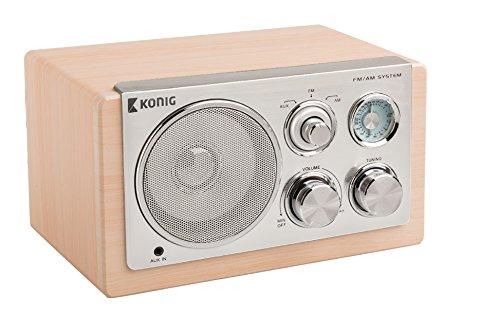 König HAV-TR1300Retro da tavolo radio in legno chiaro