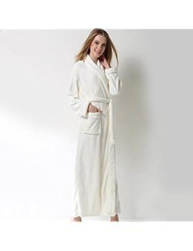DMMSS Signore inverno pigiama spessore corallo velluto camicia da notte flanella accappatoi , l , white